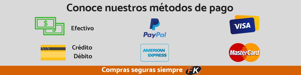 Estas son las formas de pago (efectivo, PayPal, Visa,Mastercard, tarjetas de crédito y débito )