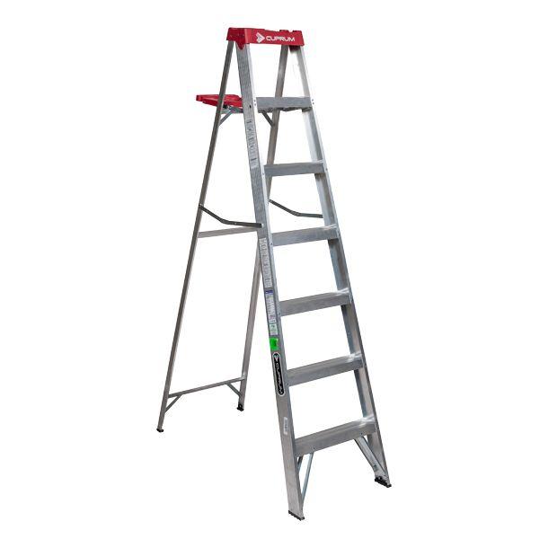 Escalera de tijera de aluminio 6 pelda os cuprum - Escaleras de peldanos ...