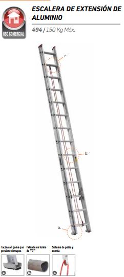 Escalera de extensi n 32 pelda os ferrekasa m xico - Escaleras de peldanos ...