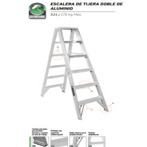 Escalera De Tijera Doble Aluminio 6 Peldaños CUPRUM